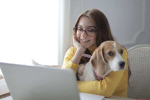 girl at computer online training